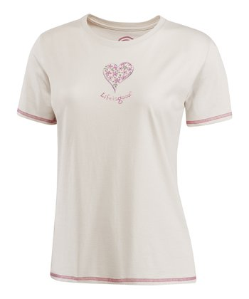 Pale Crème Delightful Heart Short-Sleeve Sleep Tee - Women