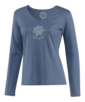 Dark Blue Flower Siesta Long-Sleeve Sleep Tee - Women