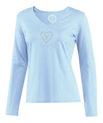 Pale Sky Blue Heart Siesta Long-Sleeve Sleep Tee - Women