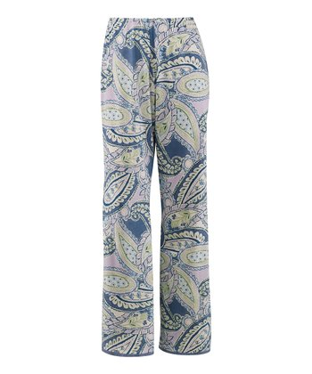 Pale Lavender Paisley Lace-Trim Pajama Pants - Women