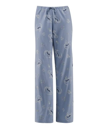 Pale Blue Tossed Tea Cups Pajama Pants - Women
