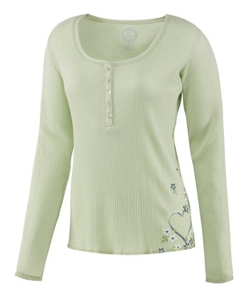 Pale Light Green Heart Sleep Henley - Women