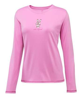 Peony Pink Peace Glove Long-Sleeve Sleep Tee - Women