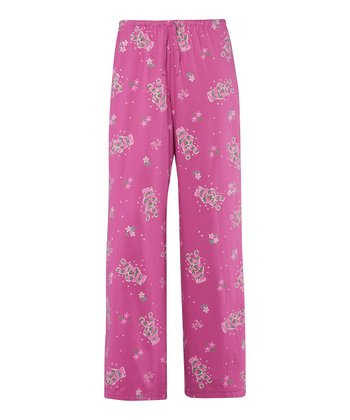 Magenta Tossed Peace Glove Pajama Pants - Women