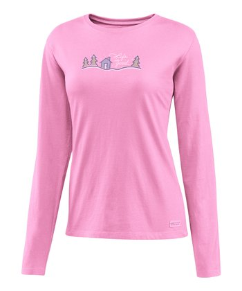 Peony Pink Snow Script Cabin Crusher Long-Sleeve Tee - Women