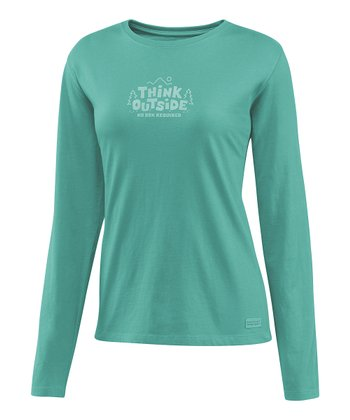 Teal 'Think Outside' Crusher Long-Sleeve Tee - Women
