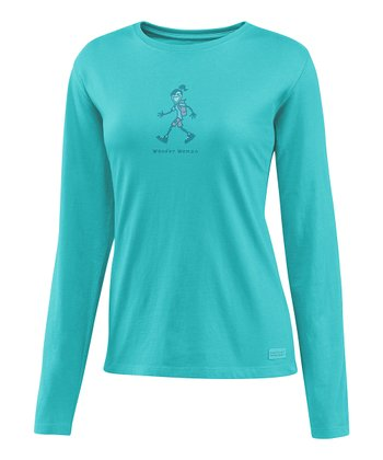 Teal 'Wander Woman' Crusher Long-Sleeve Tee - Women
