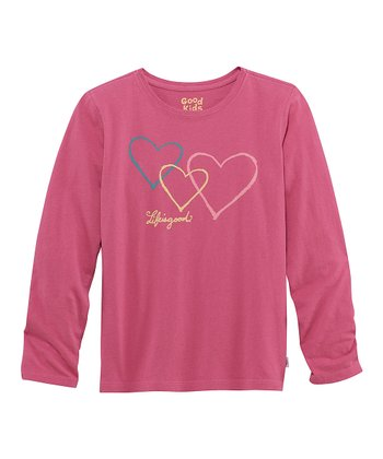 Dusty Pink Trio Hearts Long-Sleeve Creamy Tee - Girls