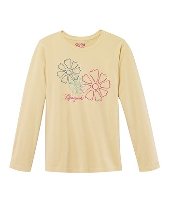 Yellow Trio Daisy Long-Sleeve Creamy Tee - Girls