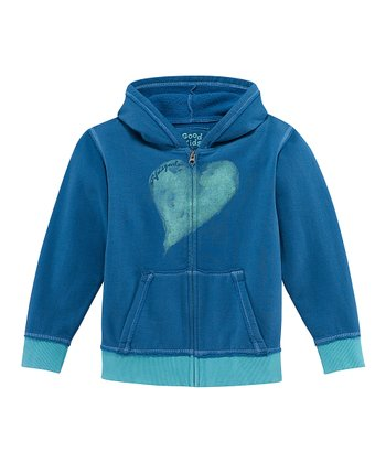 Blue Intuition Heart Zip-Up Hoodie - Girls