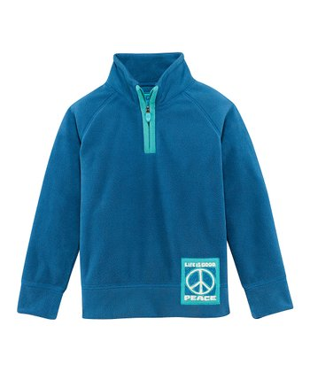Blue 'Peace' Microfleece Pullover - Toddler & Girls