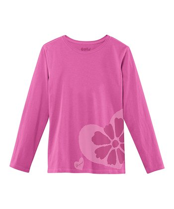 Magenta Flower Long-Sleeve Creamy Tee - Toddler & Girls