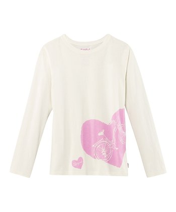 White Bike Long-Sleeve Creamy Tee - Toddler & Girls