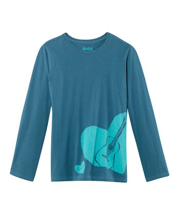Blue Guitar Long-Sleeve Creamy Tee - Toddler & Girls