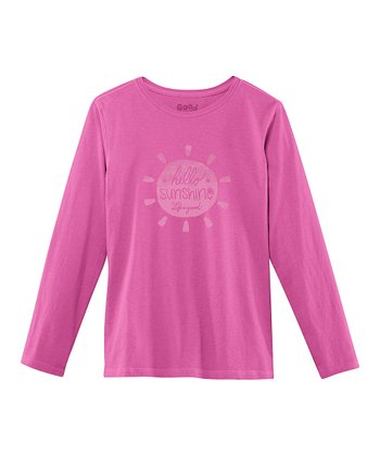 Magenta 'Hello Sunshine' Long-Sleeve Creamy Tee - Girls