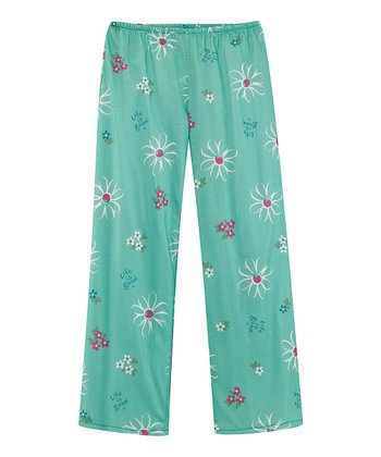 Teal Daisy Pajama Pants - Toddler & Girls