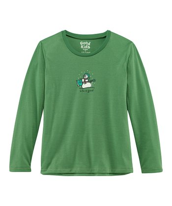 Green Jammin' Snowman Sleep Shirt - Toddler & Girls