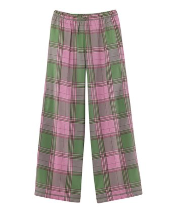 Green Plaid Flannel Pajama Pants - Toddler & Girls
