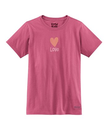 Dusty Pink 'Love' Short-Sleeve Crusher Tee - Girls