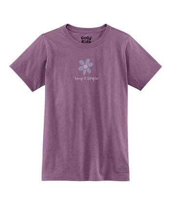 Plum 'Keep It Simple' Flower Short-Sleeve Crusher Tee - Girls