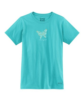 Teal Flower Butterfly Short-Sleeve Crusher Tee - Girls