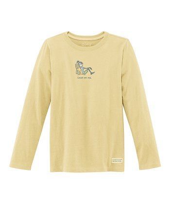Yellow 'Lean On Me' Long-Sleeve Crusher Tee - Girls