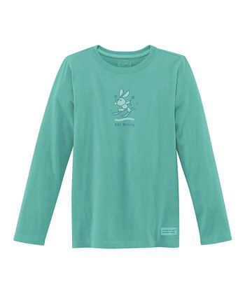 Teal 'Snow Bunny' Long-Sleeve Crusher Tee - Girls