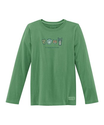 Green Animal Long-Sleeve Crusher Tee - Girls