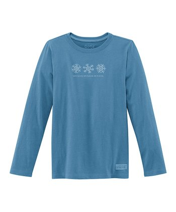 Blue 'Snowflakes' Long-Sleeve Crusher Tee - Girls