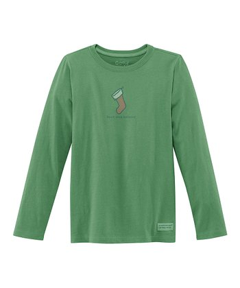 Green Stocking Long-Sleeve Crusher Tee - Girls