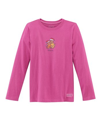 Magenta Holiday 'Peace' Long-Sleeve Crusher Tee - Girls