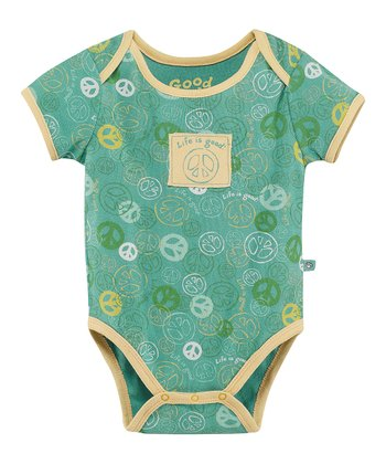 Teal Jamboree Peace Bodysuit - Infant