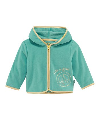 Teal Peace Microfleece Zip-Up Hoodie - Infant