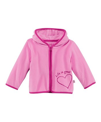 Peony Pink Heart Microfleece Zip-Up Hoodie - Infant