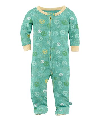 Teal Jamboree Peace Zip-Up Footie - Infant