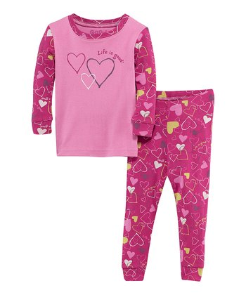 Magenta Jamboree Heart Long-Sleeve Tee & Pants - Infant