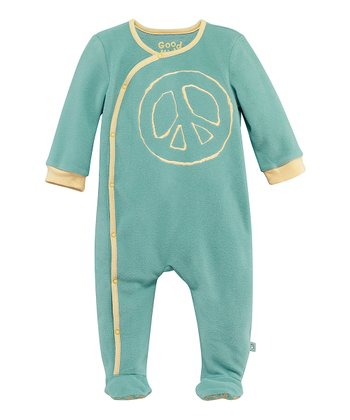 Teal Peace Microfleece Wrap Footie - Infant