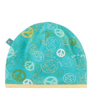 Teal Jamboree Peace Knit Beanie