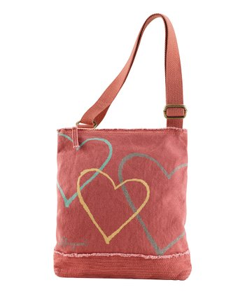 Brick Red Floaty Hearts Peace & Love Shoulder Bag