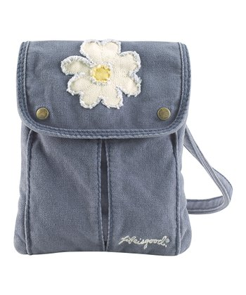 Fog Blue Daisy Passport Crossbody Bag