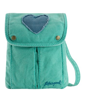 Teal Heart Passport Crossbody Bag