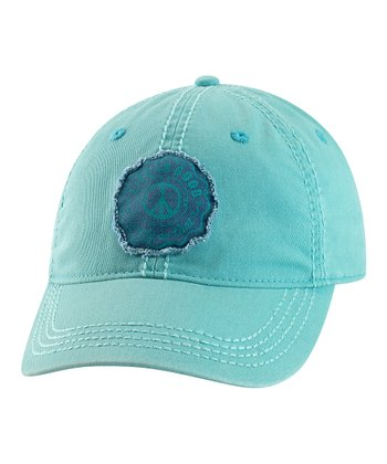 Teal Stamped Peace Choice Baseball Cap - Women