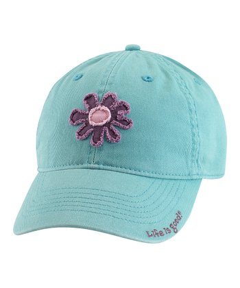 Teal Tattered Flower Chill Baseball Cap - Women
