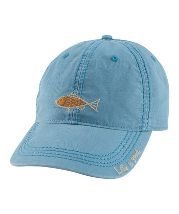 Hazy Blue Grass Roots Fish Organic Baseball Cap - Women