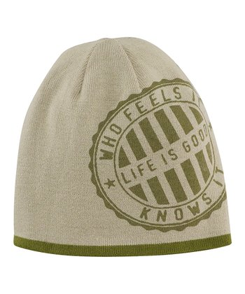 Simply Dark Green Stripe Flipside Beanie - Men