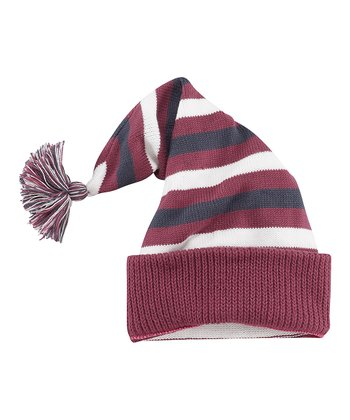 Blue & Burgundy Stripe Elfin Beanie