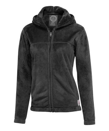 Black Cozy Zip-Up Hoodie - Women