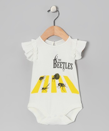 White Beetles Angel-Sleeve Bodysuit - Infant
