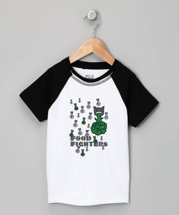 White & Black 'Food Fighters' Raglan Tee - Toddler & Boys