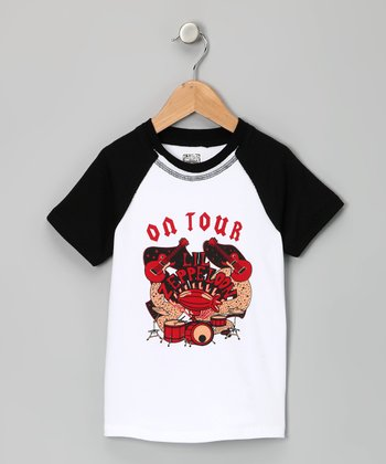 White & Black 'Lil Zeppeloon' Raglan Tee - Toddler & Boys